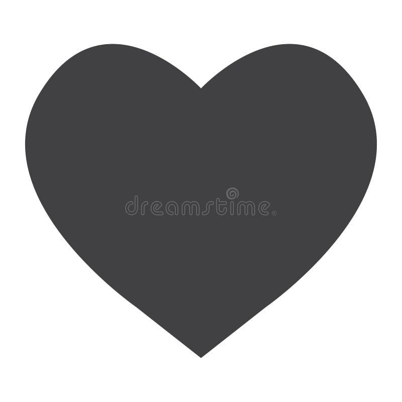 Ícone, Web e móvel do glyph do coração, vetor do sinal do amor ilustração stock