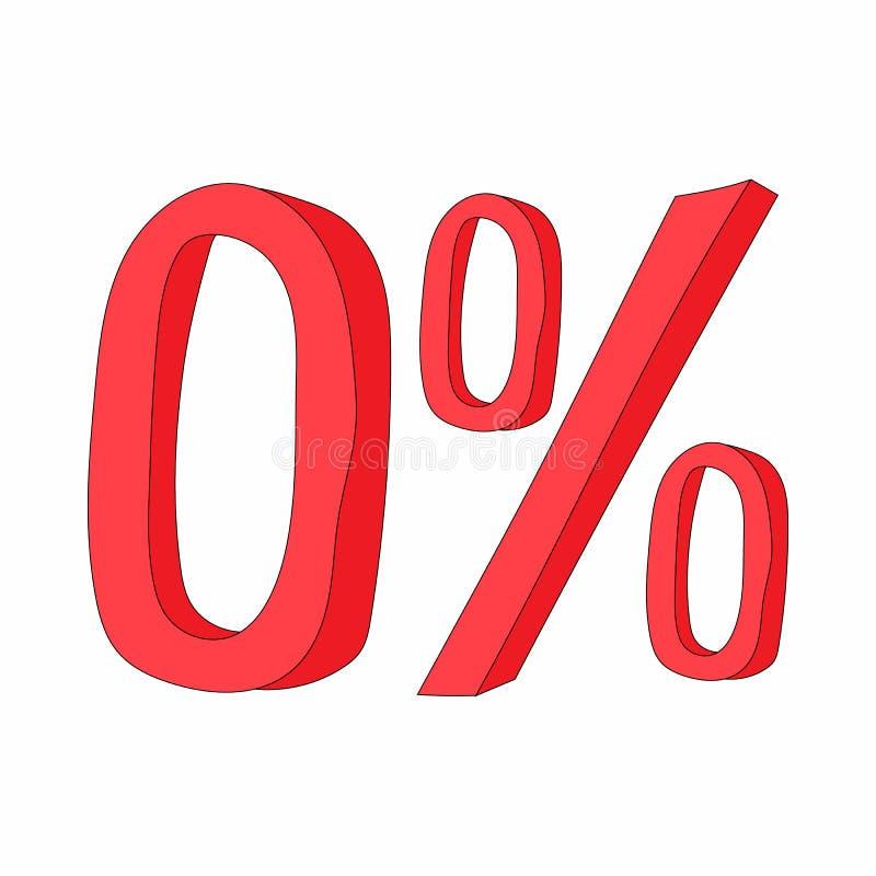 Ícone zero do sinal de por cento do vermelho, estilo dos desenhos animados ilustração do vetor