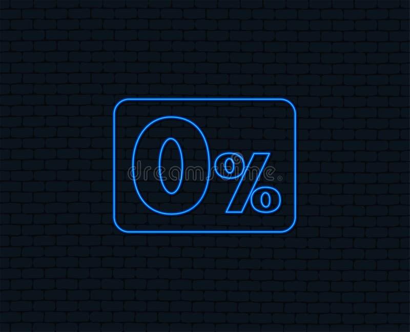 Ícone zero do sinal de por cento Símbolo zero do crédito ilustração stock