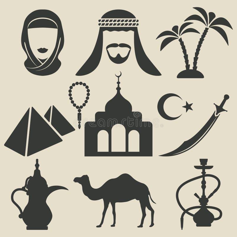 Ícones árabes ajustados ilustração do vetor