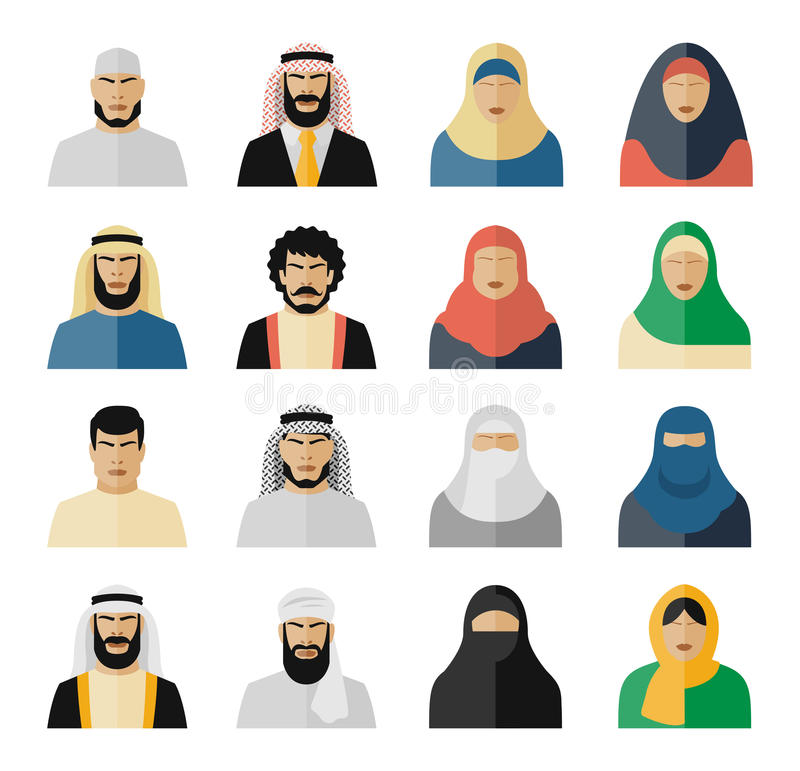 Ícones árabes dos povos ilustração stock