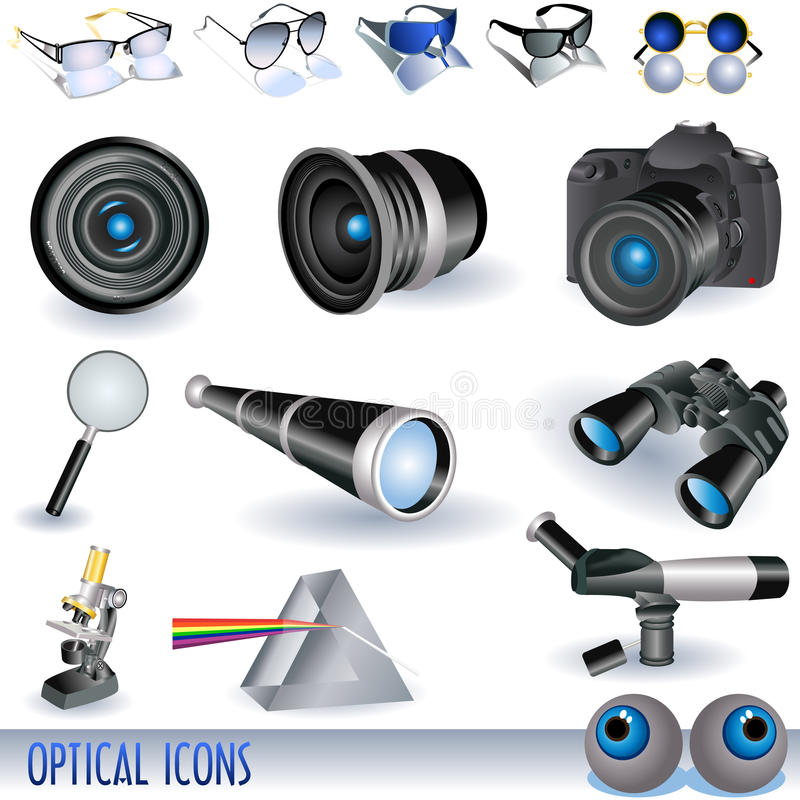 Ícones óticos ilustração royalty free