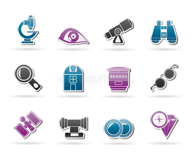 Ícones óticos e da lente do equipamento ilustração royalty free