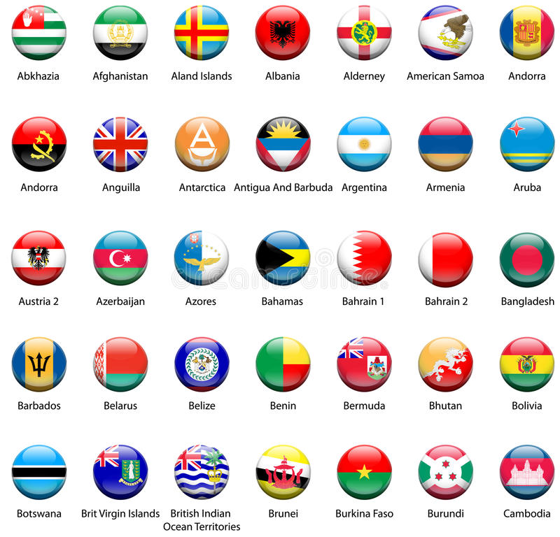 Ícones 03 da bandeira do mundo fotografia de stock