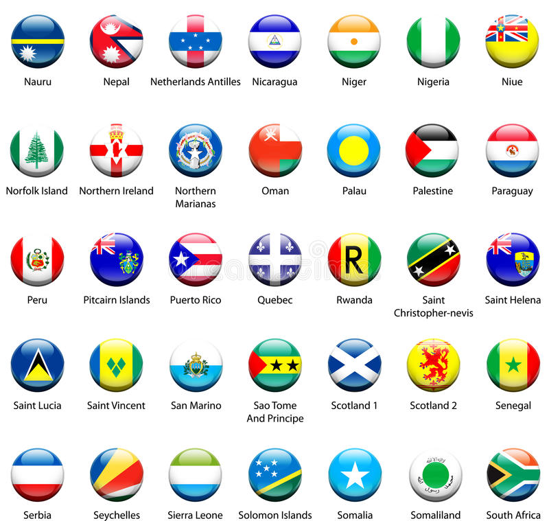 Ícones 06 da bandeira do mundo fotografia de stock royalty free