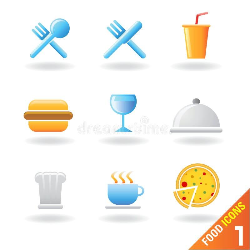 Ícones 1 do alimento ilustração stock