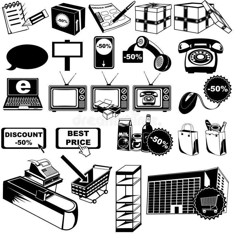 Ícones 2 do pictograma da loja ilustração do vetor