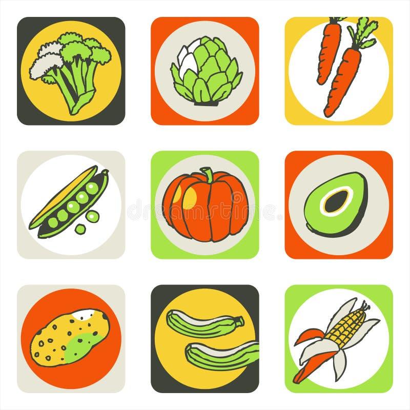 Ícones 2 dos vegetais ilustração royalty free