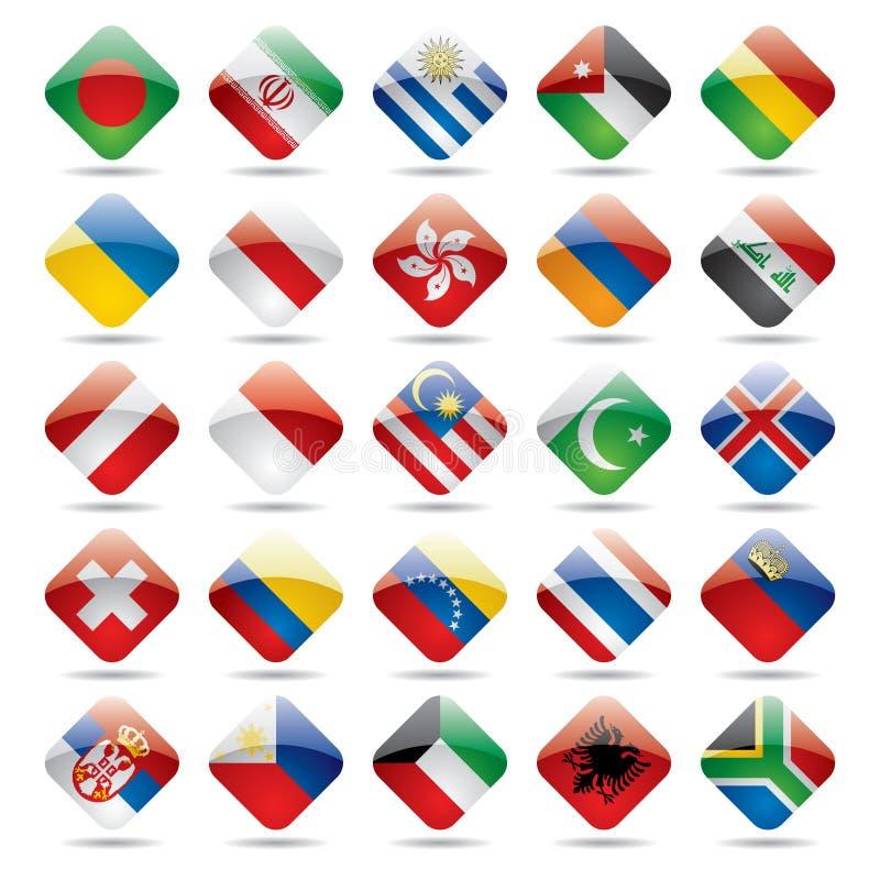 Ícones 3 da bandeira do mundo ilustração do vetor