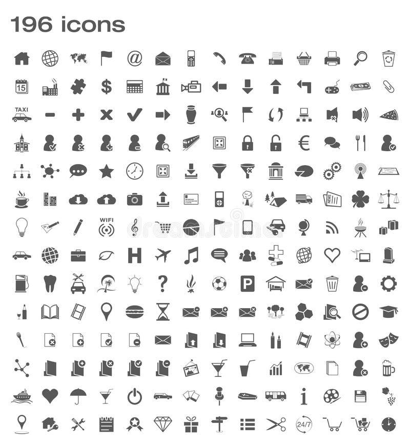 196 ícones ilustração do vetor