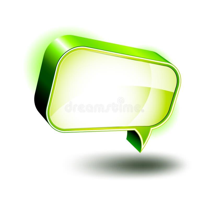 ícones 3D: Caixa lustrosa do bate-papo ilustração royalty free