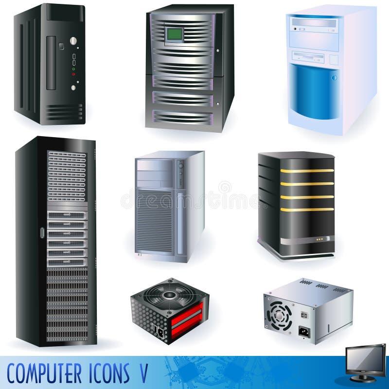 Ícones 5 do computador ilustração stock