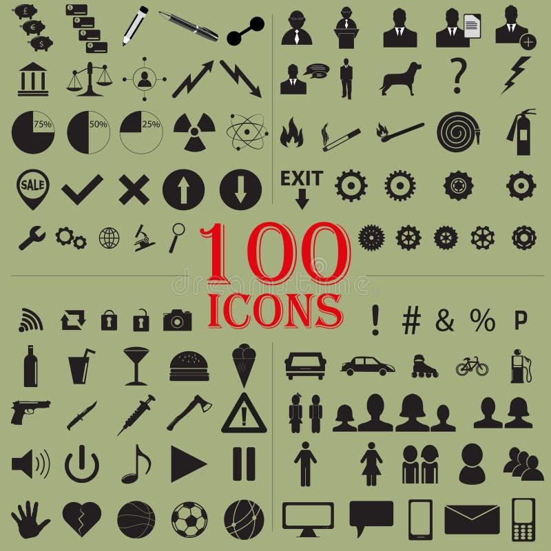 100 ícones ilustração do vetor