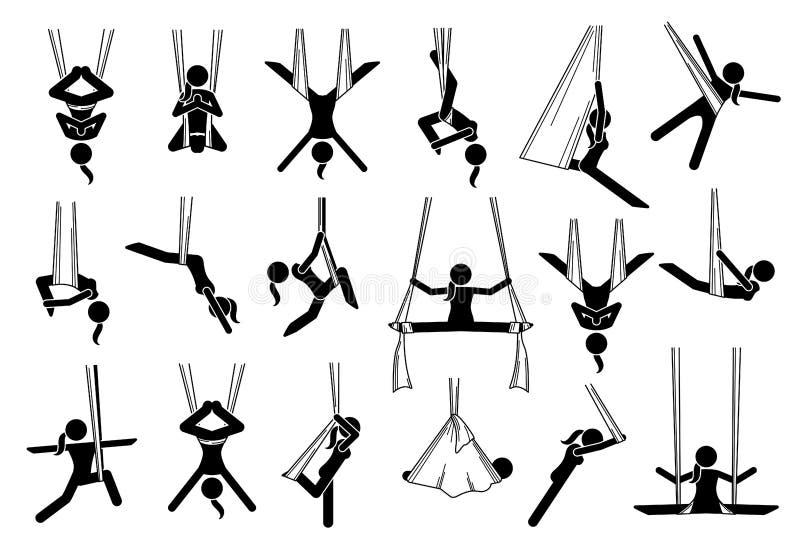 Ícones aéreos da ioga ilustração royalty free