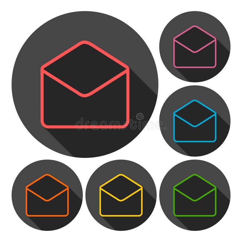 Ícones abertos do email ajustados com sombra longa ilustração royalty free