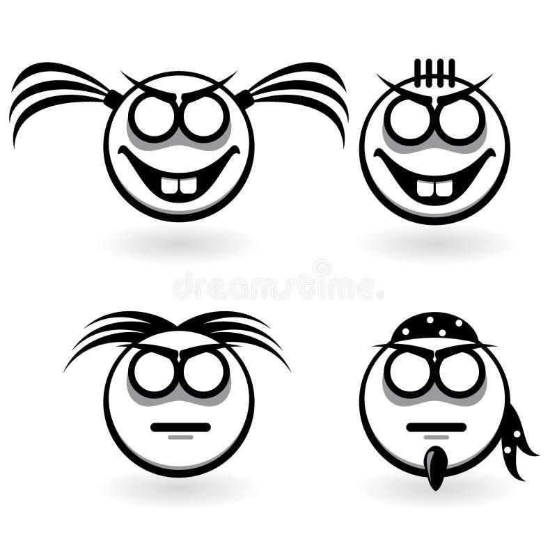 Ícones abstratos com emoções diferentes