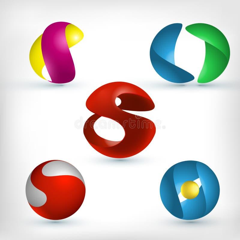 Ícones abstratos da esfera 3d ajustados ilustração do vetor