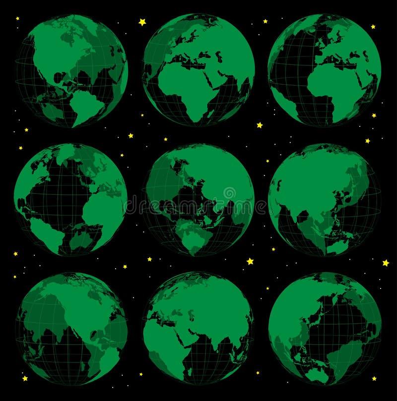 Ícones abstratos da terra do globo ajustados ilustração stock