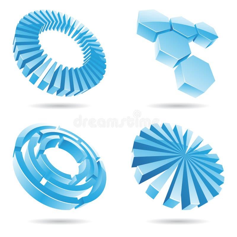 Ícones abstratos do azul de gelo 3d ilustração do vetor