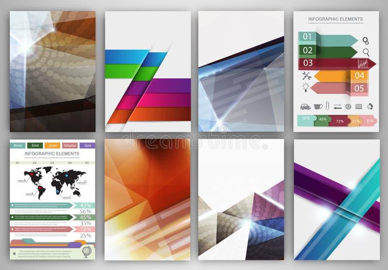 Ícones abstratos do vetor do conceito e molde criativo do folheto ilustração do vetor