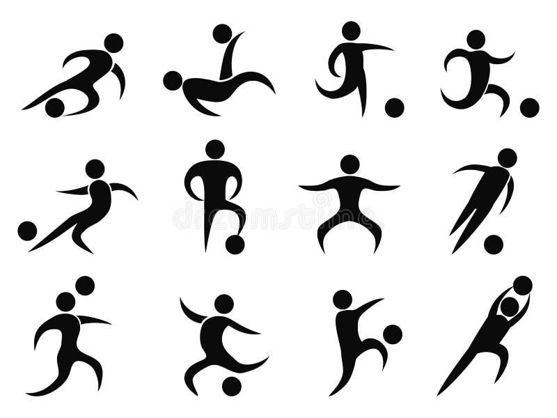 Ícones abstratos dos jogadores de futebol ilustração do vetor