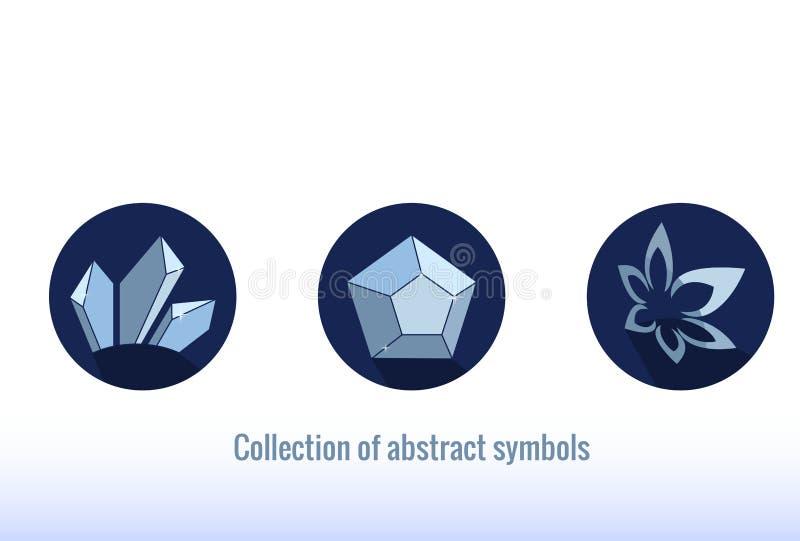 Ícones abstratos estilizados Cor azul, forma simples ilustração do vetor