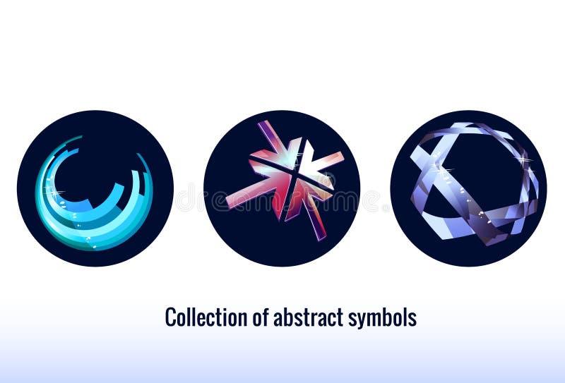 Ícones abstratos estilizados Cor azul Símbolos abstratos ilustração do vetor