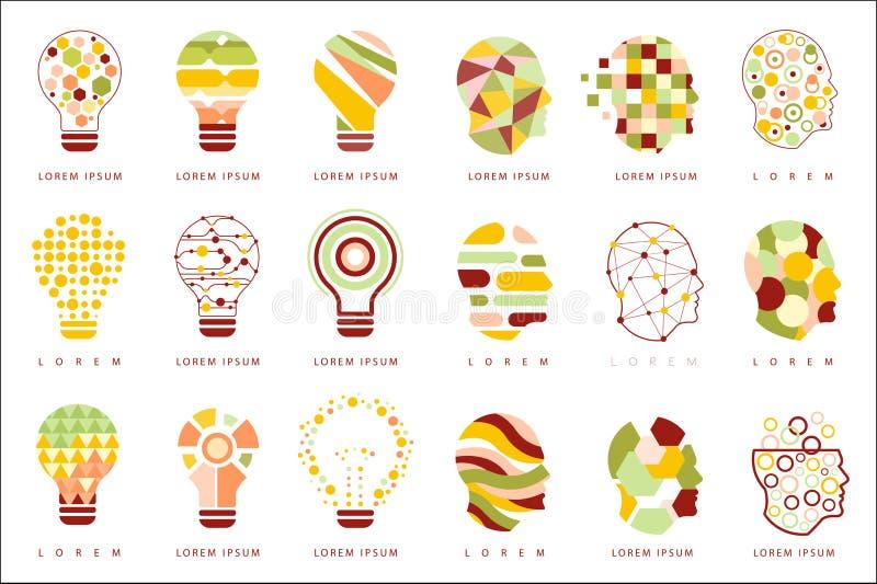 Ícones abstratos geométricos diferentes do projeto do bulbo da ideia ilustração do vetor