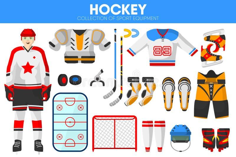 Ícones acessórios do vetor do vestuário do jogador do jogo do equipamento de esporte do gelo do hóquei ajustados ilustração do vetor