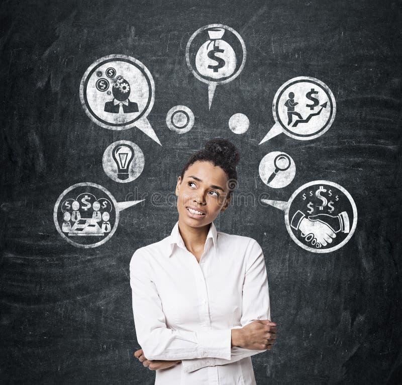 Ícones afro-americanos da menina e do dinheiro fotos de stock