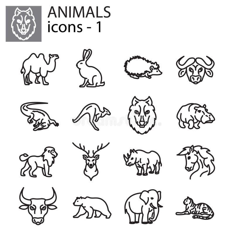 Ícones ajustados - animais selvagens ilustração do vetor