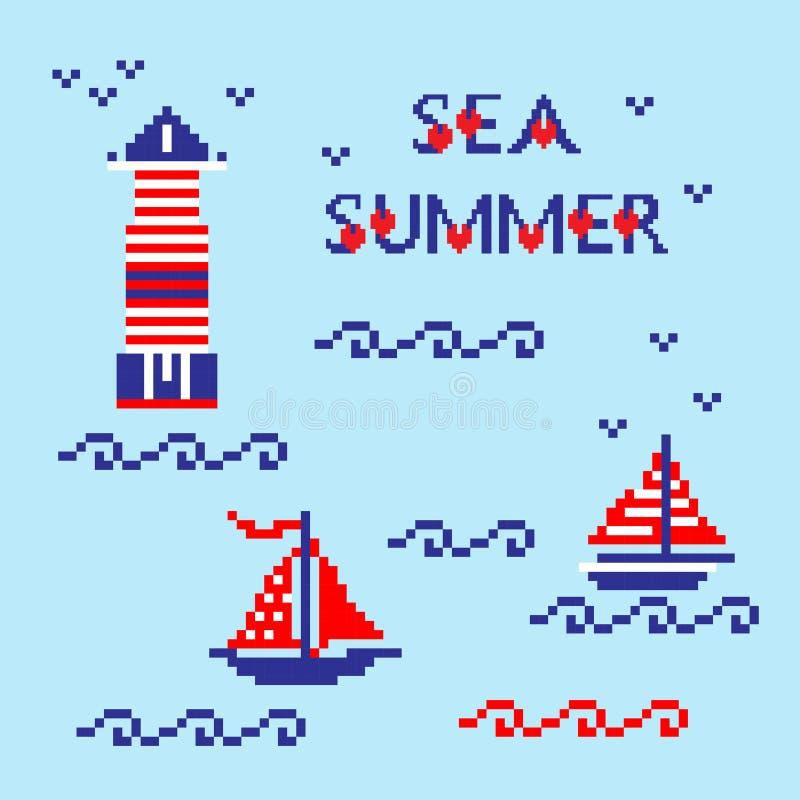 Ícones ajustados da arte do pixel do sumário moderno, fundo isolado verão, feriado, cartaz das férias na cor azul, vermelha e bra ilustração stock