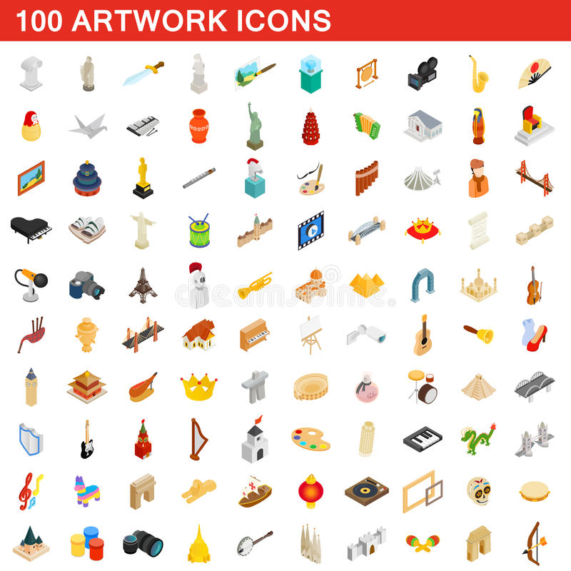 100 ícones ajustados, da arte finala estilo 3d isométrico ilustração do vetor