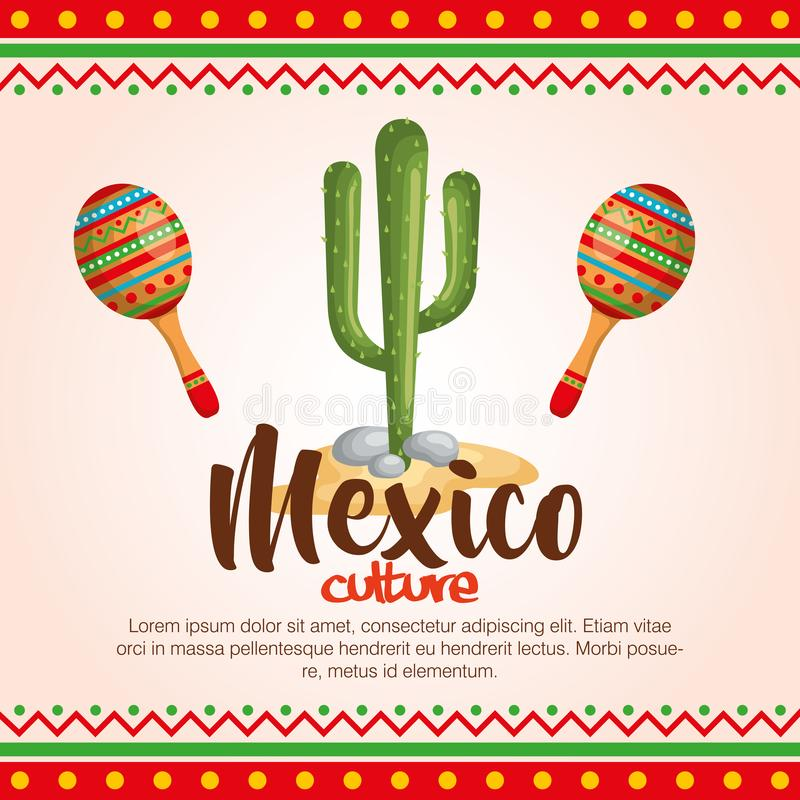 ícones ajustados da cultura mexicana ilustração do vetor