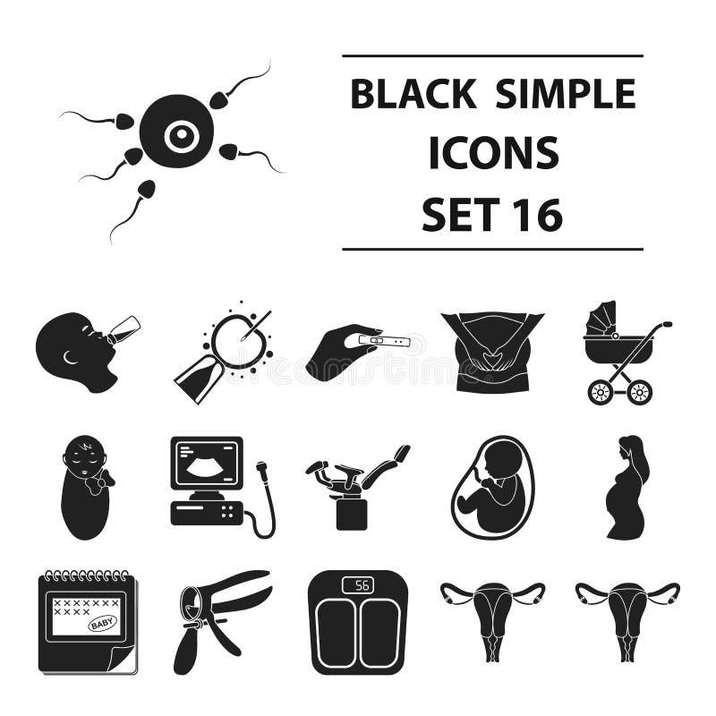 Ícones ajustados da gravidez no estilo preto Ilustração grande do estoque do símbolo do vetor da gravidez da coleção ilustração stock
