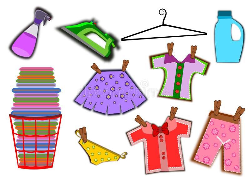 Ícones ajustados da lavanderia ilustração royalty free