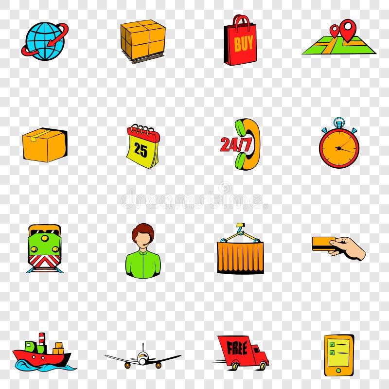 Ícones ajustados da logística ilustração royalty free