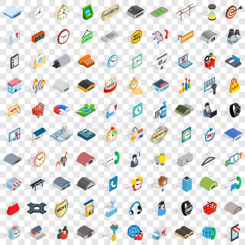100 ícones ajustados, da logística estilo 3d isométrico ilustração stock