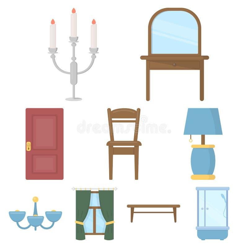Ícones ajustados da mobília no estilo dos desenhos animados Coleção grande da ilustração do estoque do símbolo do vetor da mobíli ilustração royalty free