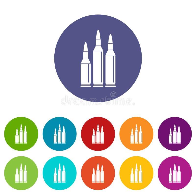 Ícones ajustados da munição da bala ilustração stock