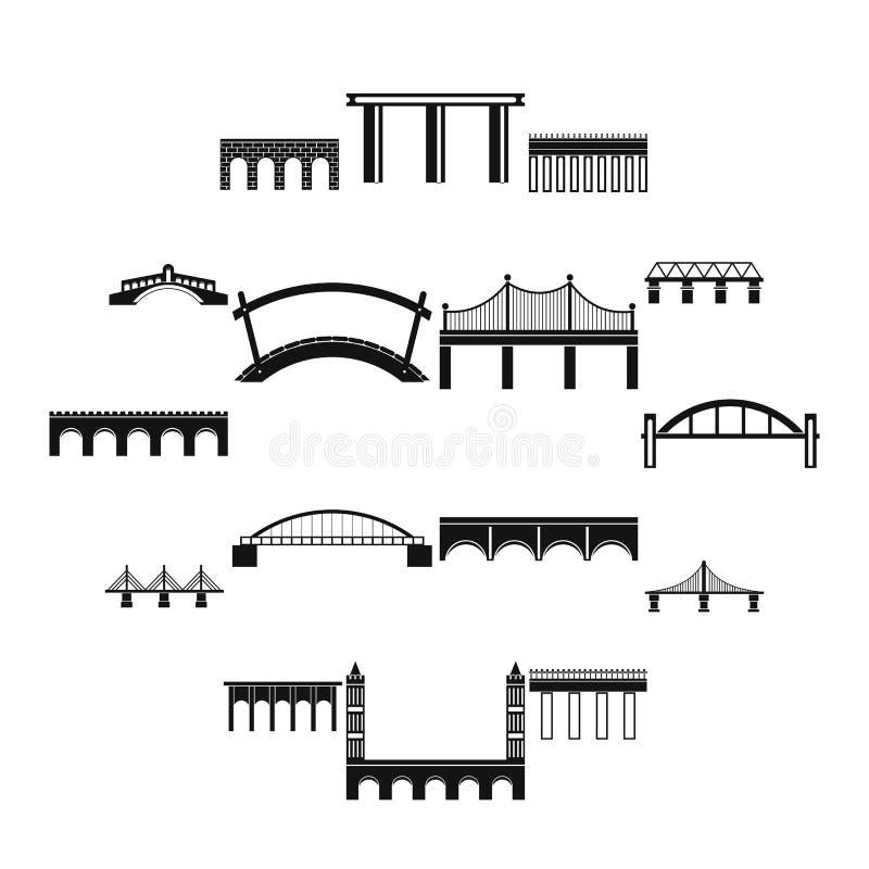 Ícones ajustados da ponte, estilo simples ilustração royalty free