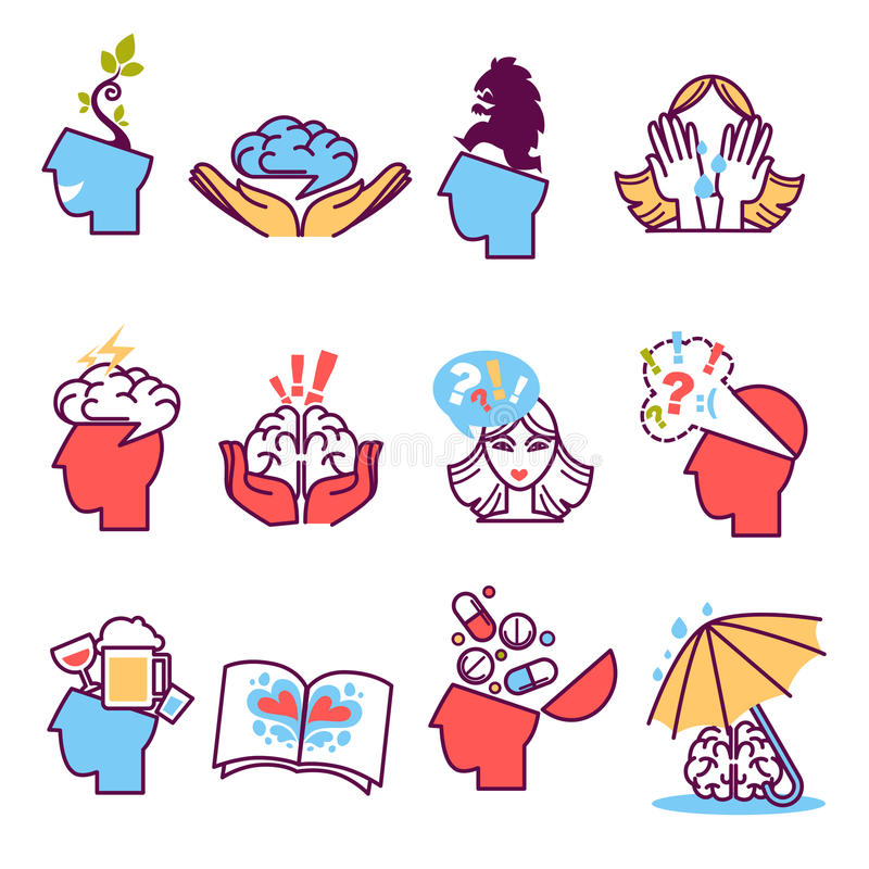 Ícones ajustados da psicoterapia, psicologia ilustração stock