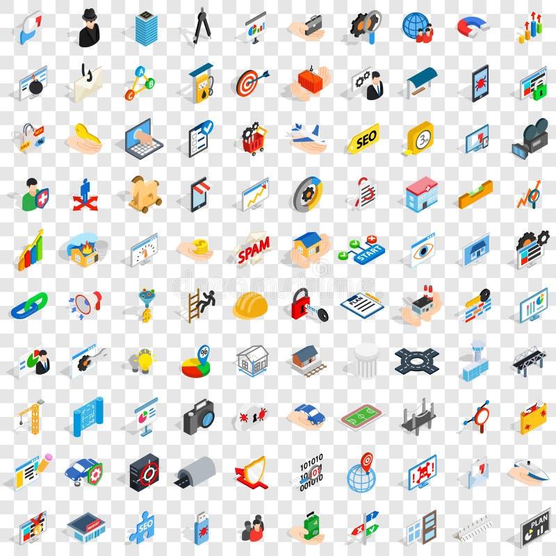 100 ícones ajustados, da relação estilo 3d isométrico ilustração do vetor