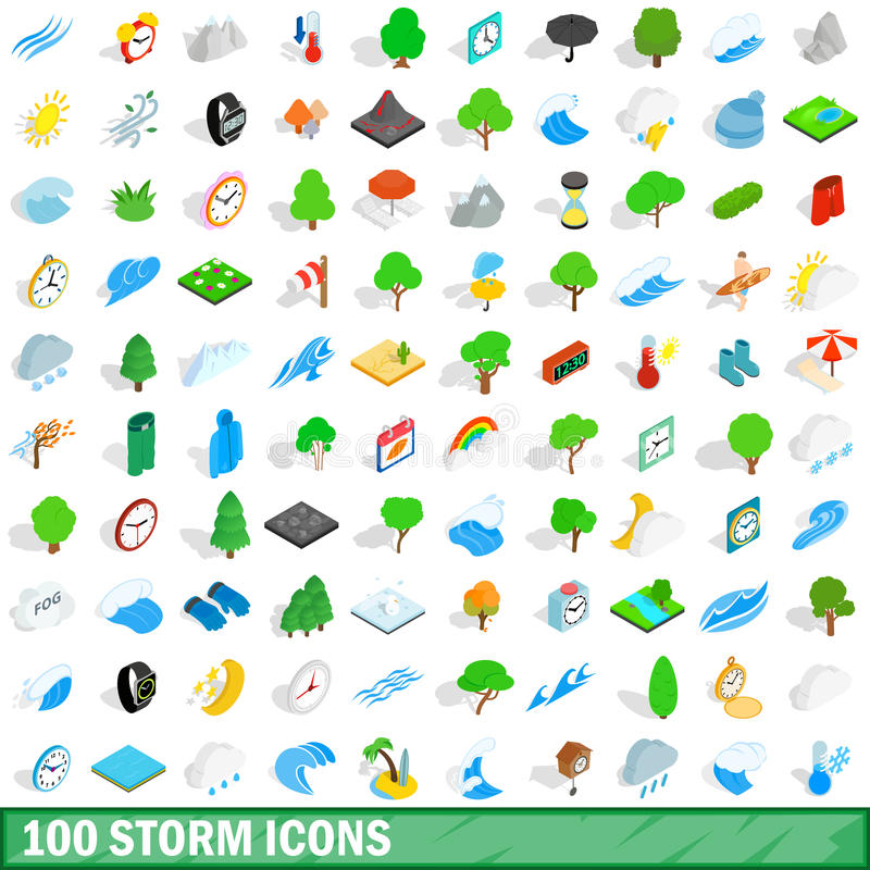 100 ícones ajustados, da tempestade estilo 3d isométrico ilustração royalty free