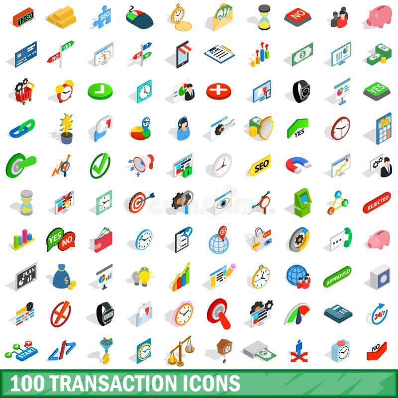 100 ícones ajustados, da transação estilo 3d isométrico ilustração royalty free