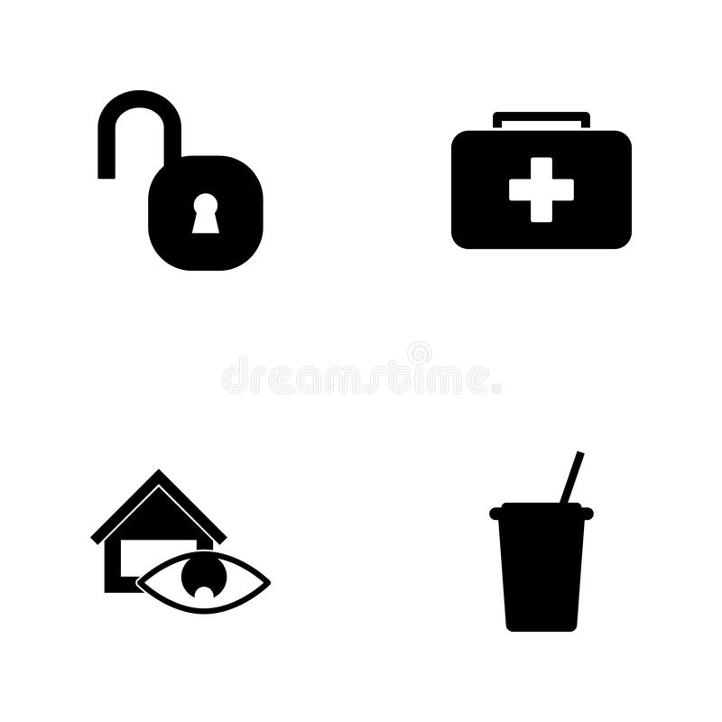 Ícones ajustados da Web da ilustração do vetor Copo dos elementos das bebidas, da supervisão da casa, da criança dos primeiros so ilustração stock