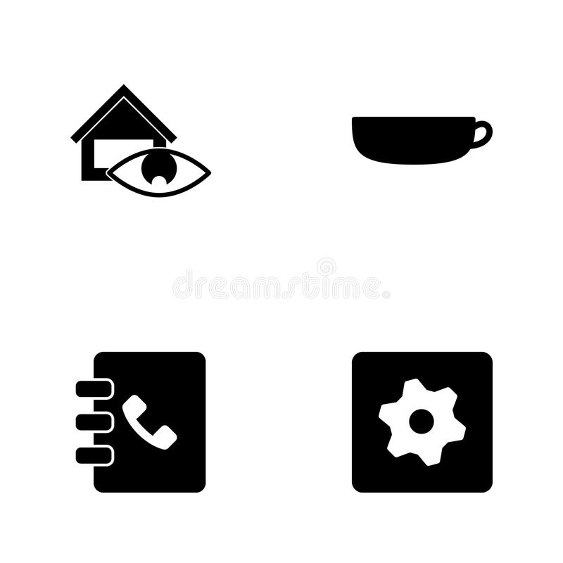 Ícones ajustados da Web da ilustração do vetor Sinal dos elementos do ícone dos ajustes, do caderno, da xícara de café e da super ilustração royalty free