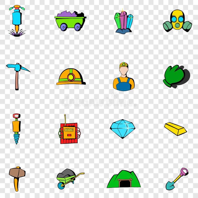 Ícones ajustados de mineração ilustração royalty free