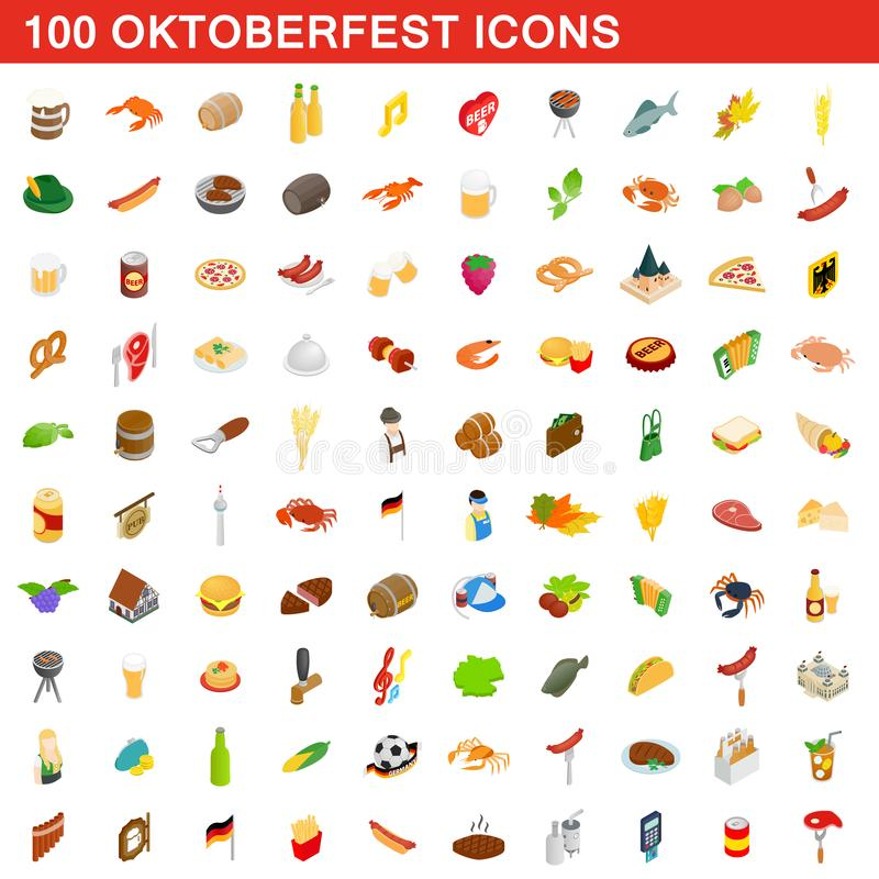 100 ícones ajustados, de Oktoberfest estilo 3d isométrico ilustração do vetor