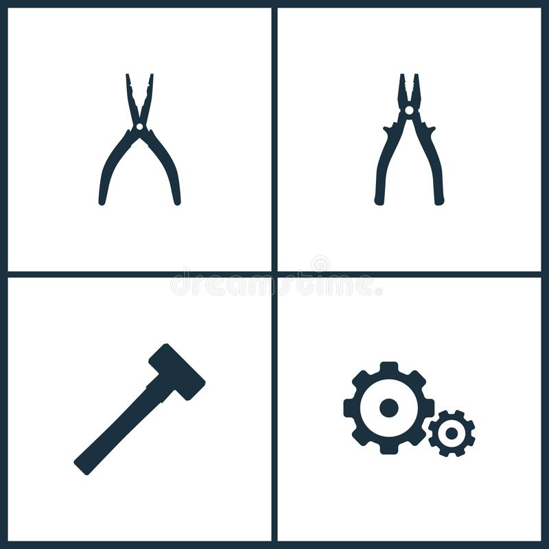 Ícones ajustados do cinema da ilustração do vetor Elementos do ícone da pilha, do malho e da engrenagem ilustração do vetor